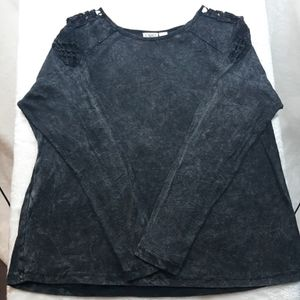 CATO LS Ribbed Marble & Crochet Top Size 22/24W